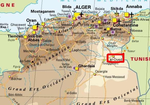 Carte Algerie Aeroports.El Oued La Ville Des Milles Coupoles Elayam 2