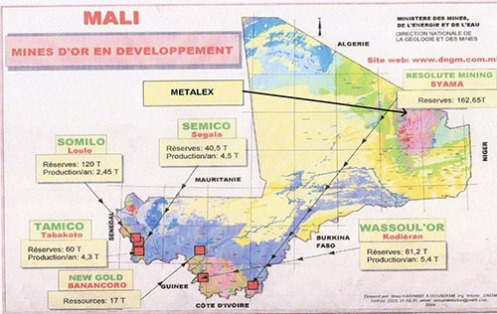 L'intervention militaire française au Mali vise-t-elle à assurer les intérêts d'Areva ? Mali_mines_ministry_map