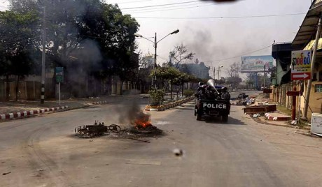 Riots between Buddhists and Muslims in Meikhtila, central, Myanmar